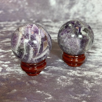 Chevron Amethyst Sphere 37mm Crystal Inclusions.