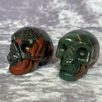 African Bloodstone Skulls 50mm Crystal Inclusions.
