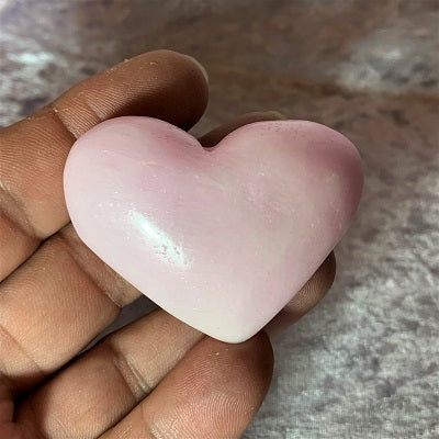 Pink Aragonite Heart 65g Crystal Inclusions.