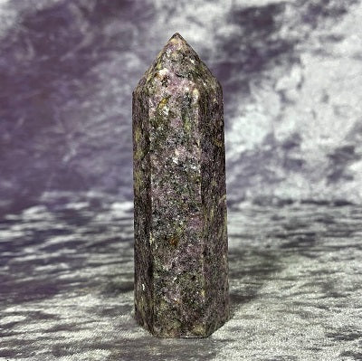 Lepidolite Point 67g Crystal Inclusions.