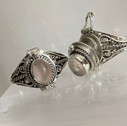 Rose Quartz & Silver Locket Ring - Crystal Inclusions