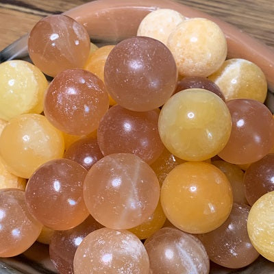 Honey Calcite Mini Sphere 25mm Crystal Inclusions.