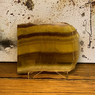 Yellow Fluorite Slab 430g Crystal Inclusions.