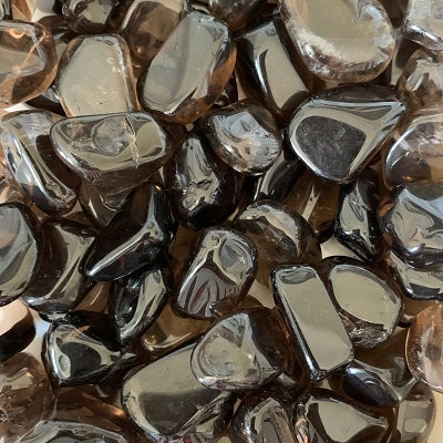 Dark Smoky Quartz Tumbled Stones Crystal Inclusions.
