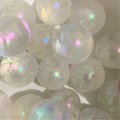 Aura Quartz Mini Sphere - Crystal Inclusions