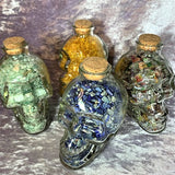 Crystal Chip Filled Glass Skulls Crystal Inclusions.