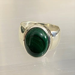 Malachite Sterling Silver Ring - Size 7.5 Crystal Inclusions.