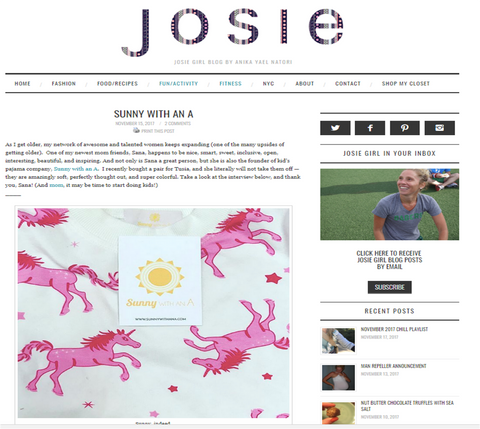 Josie Girl Blog - Sunny with an A Interview - Sana Clegg
