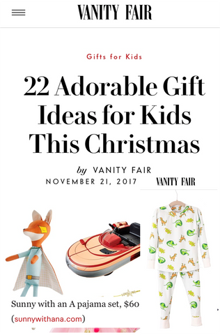 Vanity Fair Holiday Guide 2017 - Sunny with an A Dinosaur Pajamas