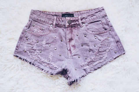 lavender pastel distressed denim shorts