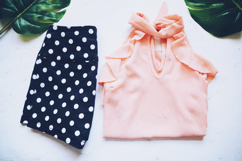 polka dot shorts and ruffle blouse
