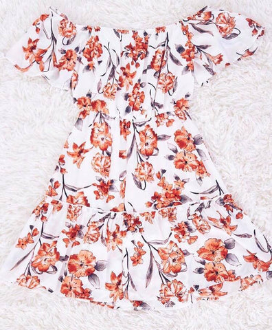 off the shoulder orange floral dress