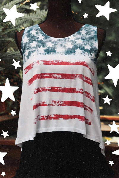 fourth of july tank top USA flag graphic tee