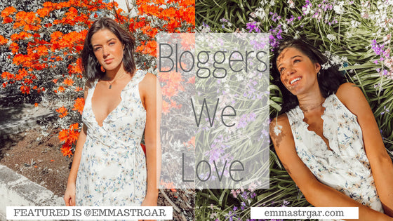 fashion blogger effortlessly emma is featured wearing our floral wrap dress