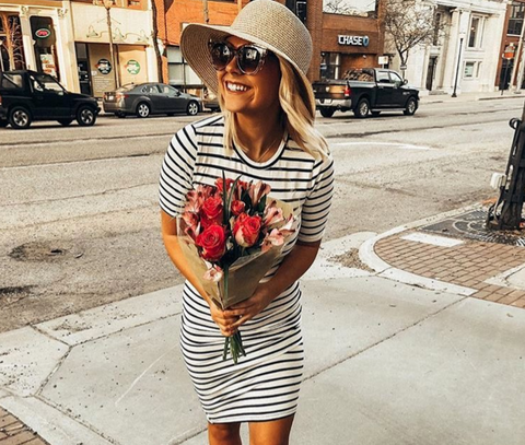 striped midi short sleeve dress