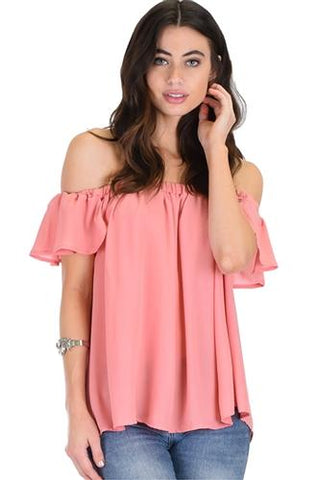 Pink short sleeve off shoulder blouse