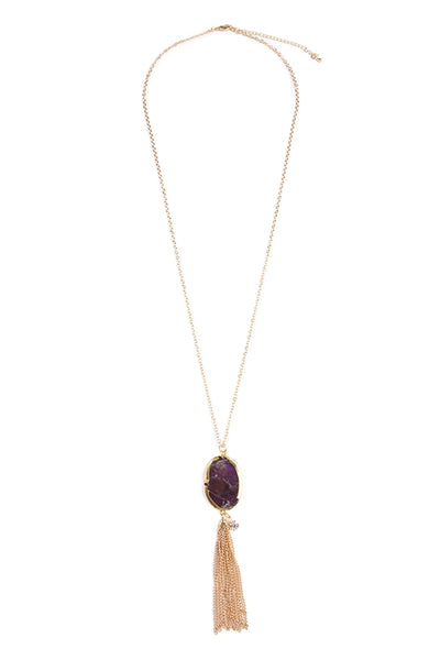 purple pendent stone necklace with gold tassel