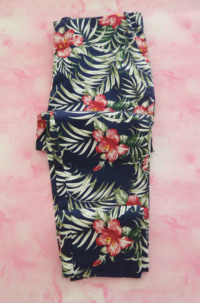 Navy Tropical Trousers - Keally Boutique
