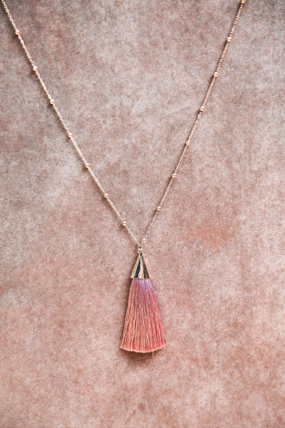 Blush Tassel Necklace - Keally Boutique
