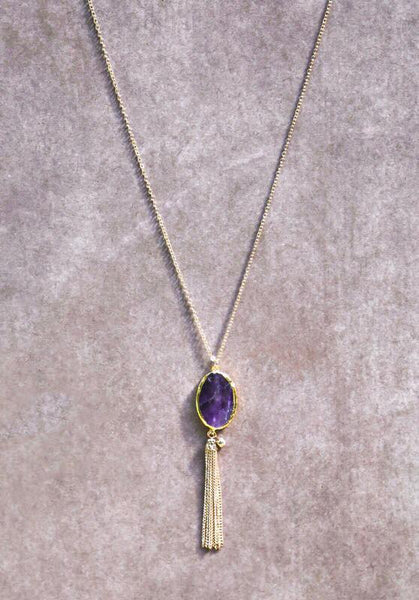 Purple Stone Necklace - Keally Boutique