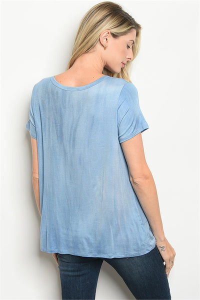 Blue Acid Wash Twist Tee
