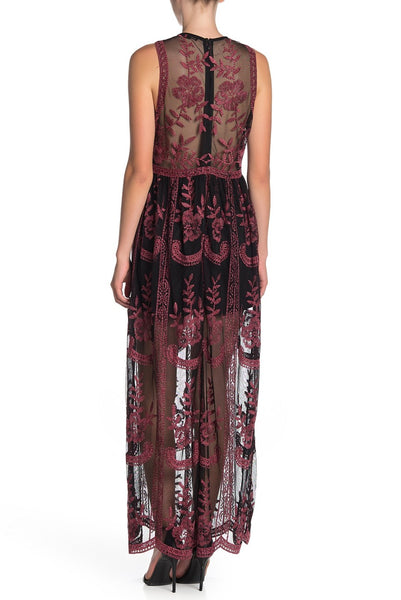 Black & Red Embroidered Lace Maxi Dress