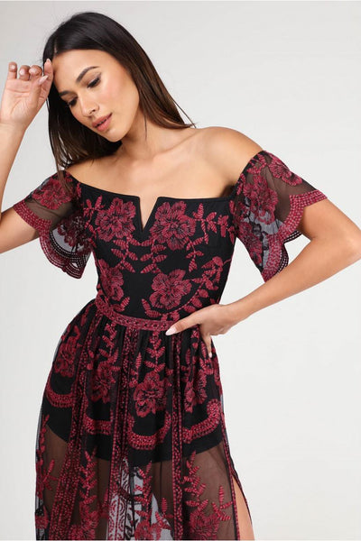 Black Red Off Shoulder Embroidered Maxi Dress
