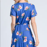 Bright Blue Floral Faux Wrap Dress Gilli Keally Boutique