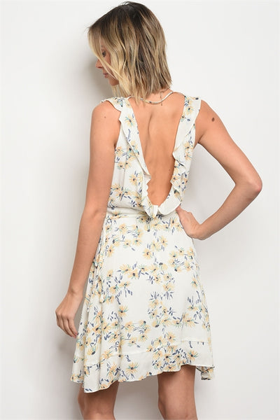 Open Back Floral Wrap Dress - Keally Boutique