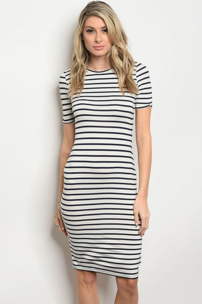 Striped Navy Dress - Keally Boutique