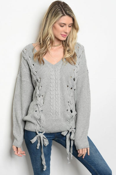 Knot Lace Up Sweater - Keally Boutique