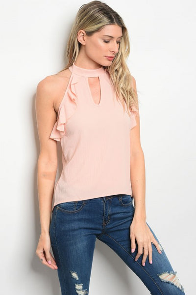 Pink Ruffle Blouse - Keally Boutique