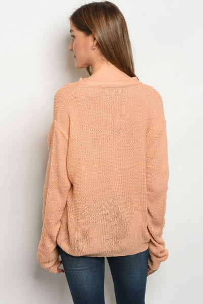 Lace Up Sweater - Keally Boutique