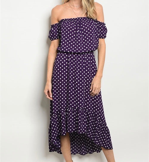 off the shoulder purple polka dot midi length dress