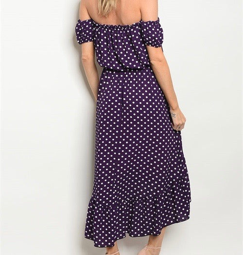 off the shoulder purple polka dot dress