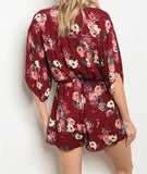 low cut red floral tied romper