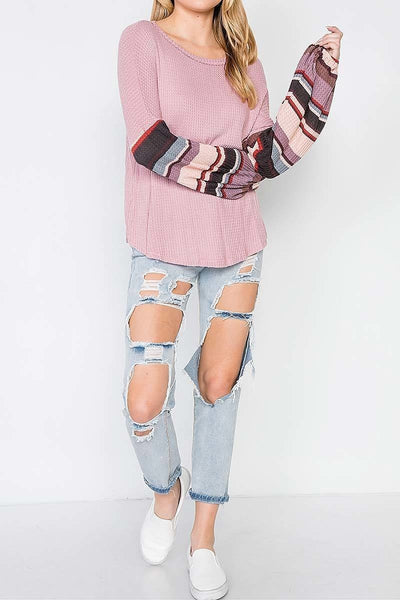 Contrast Sleeves Waffle Knit Top - Keally Boutique