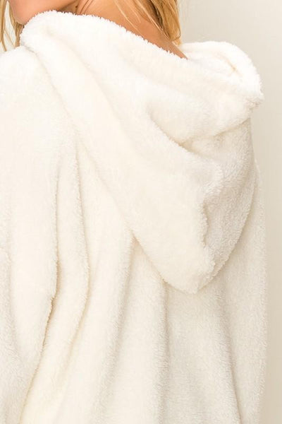 Cream Fuzzy Fleece Half Zip Jacket