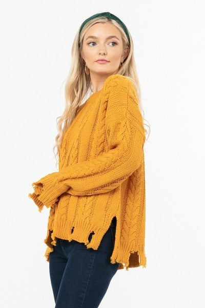Distressed Cable Knit Crew Neck Sweater