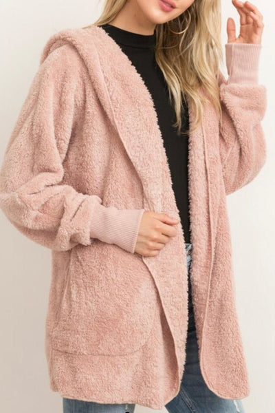 faux fur cardigan jacket hem and thread