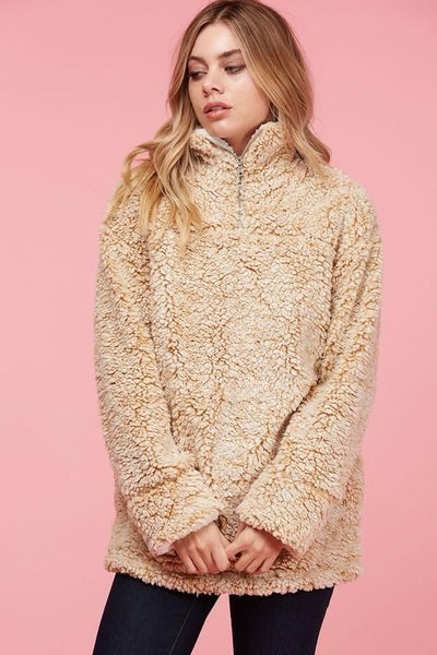 Fuzzy Quarter Zip Sherpa Pullover