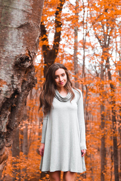 Long Sleeve Cowl Neck Dress