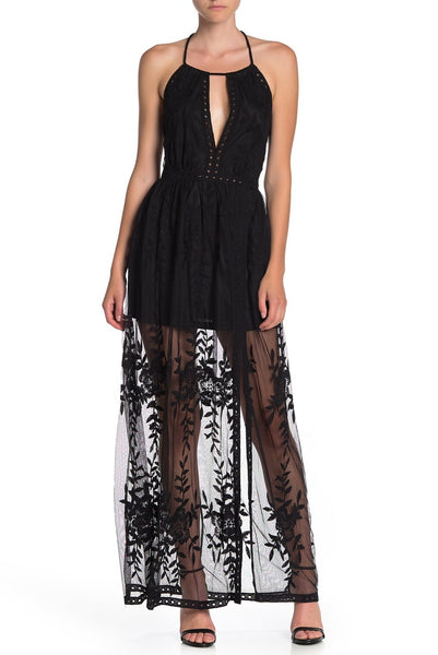 Lace Overlay Halter Maxi Dress