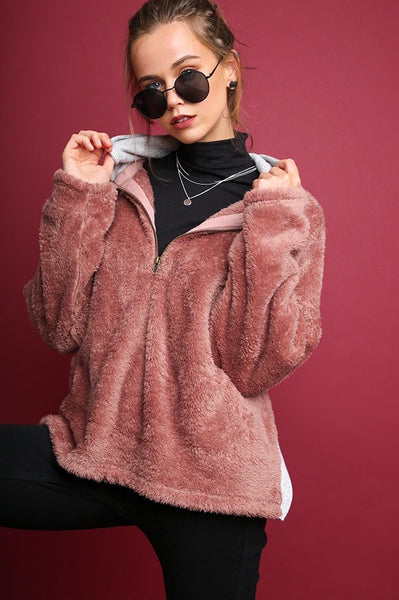 Long Sleeve Fuzzy Knit Half-Zip Pullover