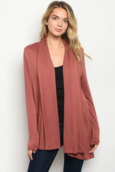 Long Sleeve Rust Cardigan Sweater - Keally Boutique