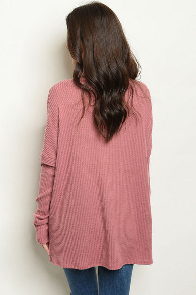 Mauve Cowl Neck Waffle Knit Sweater - Keally Boutique
