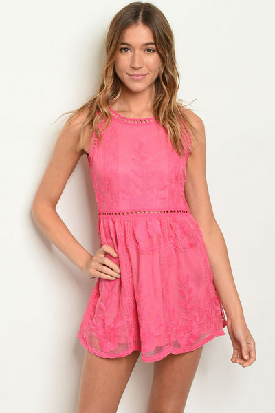 Mini Lace Embroidered Sleeveless Dress - Keally Boutique