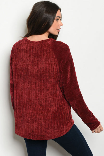 Red Chenille Long Sleeve Top