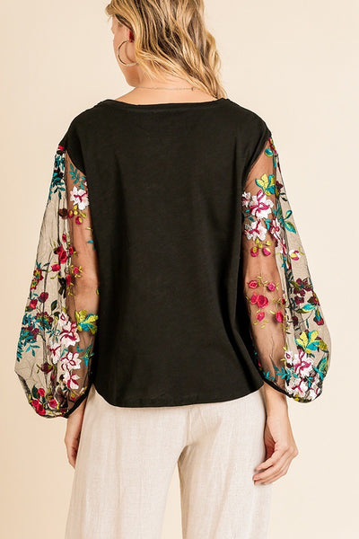 Sheer Embroidered Long Sleeve Blous