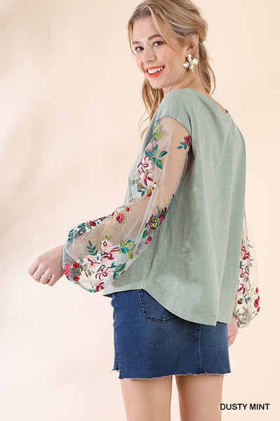 Sheer Embroidered Long Sleeve Blouse